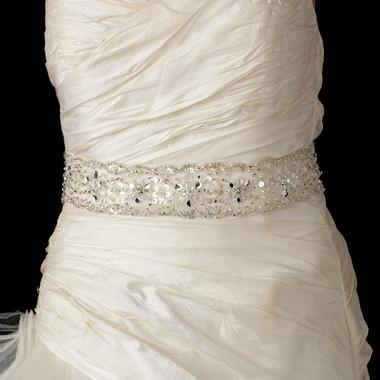 Beaded Bridal Sash Belt with Rhinestone, Bugle Bead & Sequin Accents 51