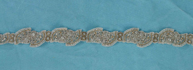 "Marionat Bridal Belt 1068 - 30"" Rhinestone belt on organza with gold"