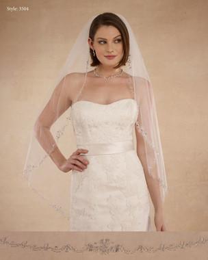 "Marionat Bridal Veils 3504 - 42"" Beaded design - The Bridal Veil Company"
