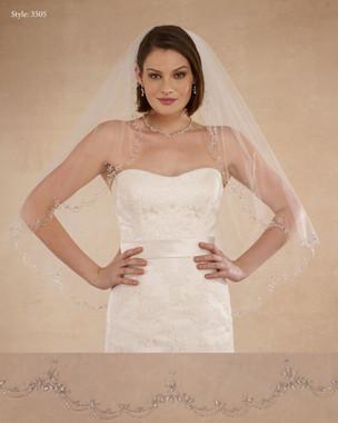 """Marionat Bridal Veils 3505 - 36"""" Scallop beaded design - The Bridal Veil Company"""