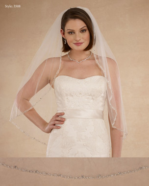 "Marionat Bridal Veils 3508 - 36"" Beaded edge with pearls - The Bridal Veil Company"
