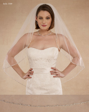 "Marionat Bridal Veils 3509 - 36"" Beaded pearl edge with a silver roll - The Bridal Veil Company"