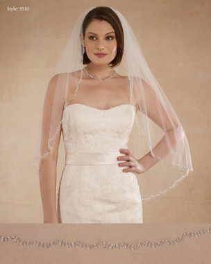 "Marionat Bridal Veils 3510 - 36"" Beaded edge - The Bridal Veil Company"