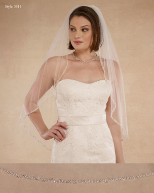 "Marionat Bridal Veils 3511 - 36"" Beaded edge with crystals, pearls and rhinestone - The Bridal Veil Company"
