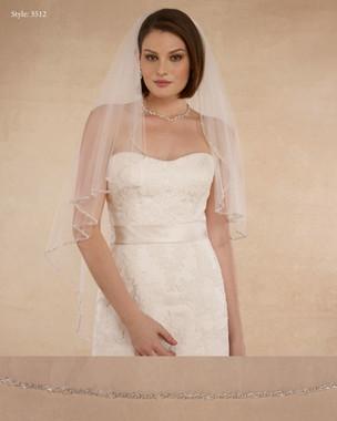 "Marionat Bridal Veils 3512 - 42"" Angel cut beaded edge - The Bridal Veil Company"