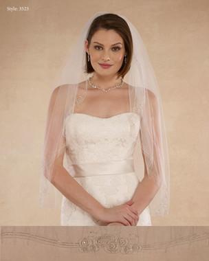 "Marionat Bridal Veils 3523 - 36"" Beaded swirls - The Bridal Veil Company"