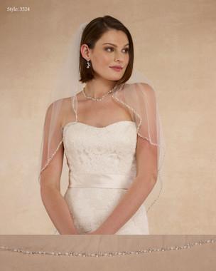 "Marionat Bridal Veils 3524 - 32"" Beaded pearl edge - The Bridal Veil Company"