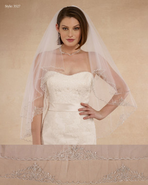 "Marionat Bridal Veils 3527 - 32""/38"" Beaded embroidered veil with small scallops - The Bridal Veil Company"