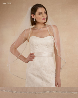 "Marionat Bridal Veils 3528 - 38"" Heavy beaded pearl edge - The Bridal Veil Company"