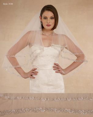 """Marionat Bridal Veils 3530 - 32"""" Heavy beaded edge - The Bridal Veil Company"""