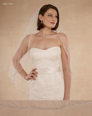 "Marionat Bridal Veils 3534 - 36"" Beaded pearl edge - The Bridal Veil Company"