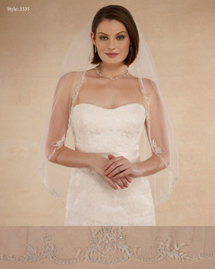 "Marionat Bridal Veils 3535 - 36"" Beaded embroidery - The Bridal Veil Company"
