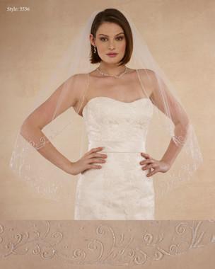 "Marionat Bridal Veils 3536 - 38"" Beaded design - The Bridal Veil Company"