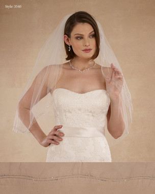 "Marionat Bridal Veils 3540 - 32"" Silver wave - The Bridal Veil Company"