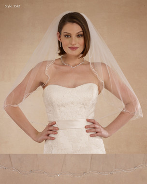 "Marionat Bridal Veils 3542 - 32"" Beaded wave - The Bridal Veil Company"