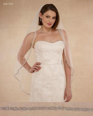 "Marionat Bridal Veils 3544 - 42"" Rhinestone edge - The Bridal Veil Company"