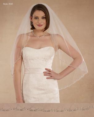 "Marionat Bridal Veils 3545 - 32"" Embroidered rhinestone edge - The Bridal Veil Company"
