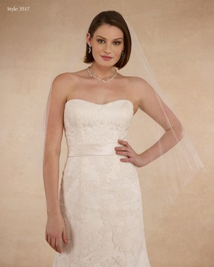 "Marionat Bridal Veils 3517 - 48"" Diamond cut, cut edge - The Bridal Veil Company"