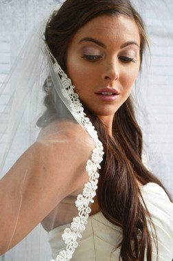 Elena Designs Wedding Veil Style E1194L- Cathedral Lace Embroidered edge veil - 120x108