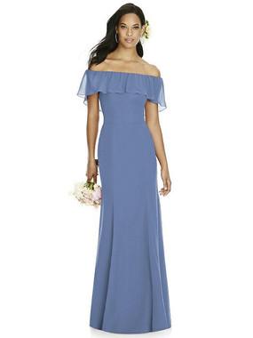 Social Bridesmaids Dress Style 8182 - Matte Chiffon - Larkspur- In Stock Dress
