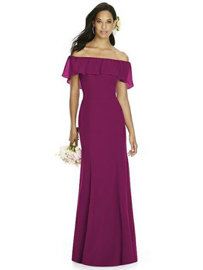 Social Bridesmaids Dress Style 8182 - Matte Chiffon - Merlot - In Stock Dress