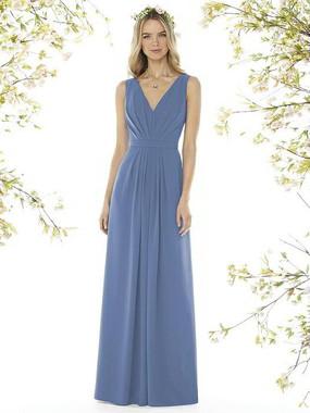 Social Bridesmaids Dress Style 8157 - Matte Chiffon - Larkspur- In Stock Dress