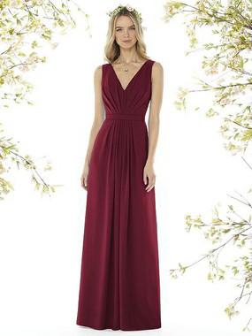 Social Bridesmaids Dress Style 8157 - Matte Chiffon - Burgundy - In Stock Dress