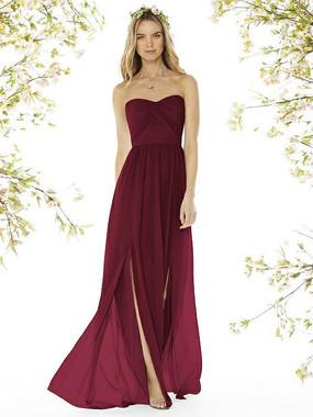 Social Bridesmaids Dress Style 8159 - Matte Chiffon - Burgundy - In Stock Dress