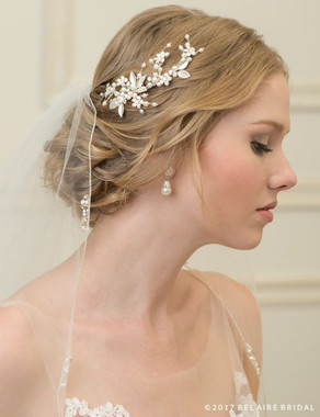 Bel Aire Bridal 6756 - Petite Pearl Clip With Metal Flowers And Leaves