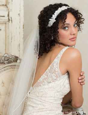 Bel Aire Bridal 6758 - Tie Headband Of Beaded Leaves
