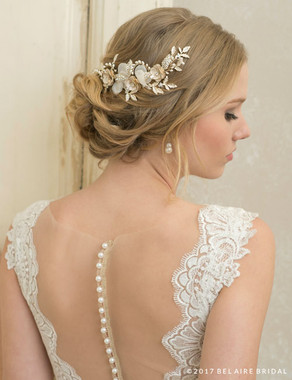 Bel Aire Bridal 6762 - Comb Of Metal Roses And Pearls