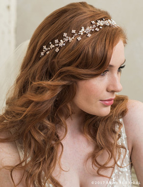 Bel Aire Bridal 6763 - Garland Of Rhinestones And Crystals