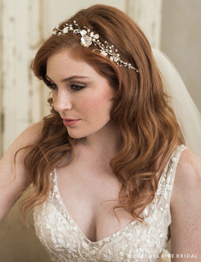 Bel Aire Bridal 6765 - Garland Of Metal Flowers And Pearls