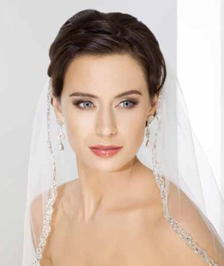Bel Aire Bridal Wedding Veil V7141 - Silver bugle bead and rhinestone veil - Fingertip Length