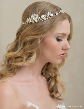 Bel Aire Bridal 6770 - Halo Of Pearls And Leaves