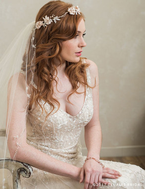 Bel Aire Bridal 6778 - Halo Of Flowers And Lace Leaves