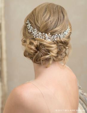 Bel Aire Bridal 6779 - Crescent Backpiece Of Rhinestones And Opals