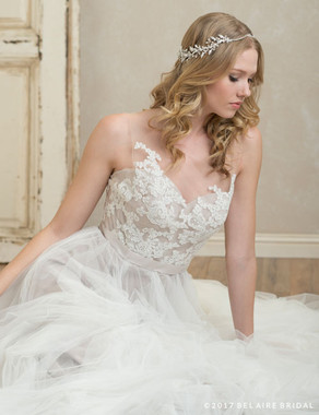 Bel Aire Bridal 6780 - Halo Of Rhinestones And Metal Leaves