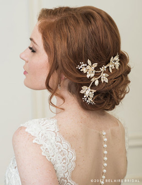 Bel Aire Bridal 6782 - Branching Clip Of Metal Leaves