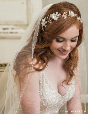 Bel Aire Bridal 6785 - Headpiece Of Rhinestones And Pearls