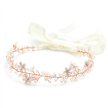 Handmade Rose Gold Bridal Headband with Dainty Floral Vines 4564HB-I-RG