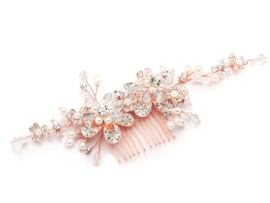 Rose Gold Wedding or Brides Hair Comb with Pearl and Crystal Sprays 4071HC-RG