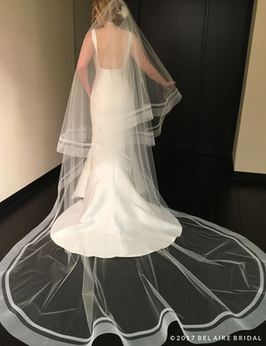 Bel Aire Bridal Veils V7442C -2-tier foldover cathedral veil (FT+cathedral) with a dramatic double row of horsehair