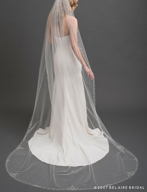Bel Aire Bridal Veils - V7434C- 1-tier cathedral veil with sparkling design of marquise rhinestones