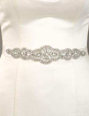 Bel Aire Bridal Belt BT068 - Opal crystal sash - rhinestones, silver bead