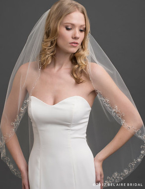 Bel Aire Bridal Veils V7421 - 1-tier fingertip veil with embroidered design/champ beads