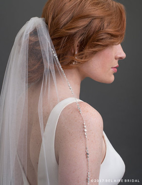 Bel Aire Bridal Veils V7422 - 1-tier fingertip veil with rhinestone edge
