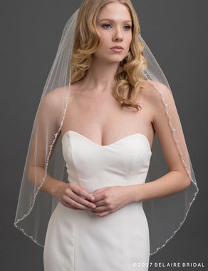 Bel Aire Bridal Veils V7423 - 1-tier fingertip veil edged with frosted beads, pearls, and sequins
