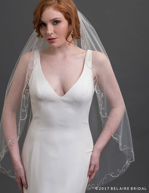 Bel Aire Bridal Veils V7424 - 1-tier fingertip veil with silver beaded scrolls