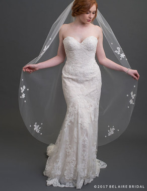Bel Aire Bridal Veils V7425 - 1-tier waltz length veil scattered with lace appliques and flowers